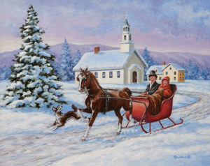 One Horse Open Sleigh by Richard De Wolfe